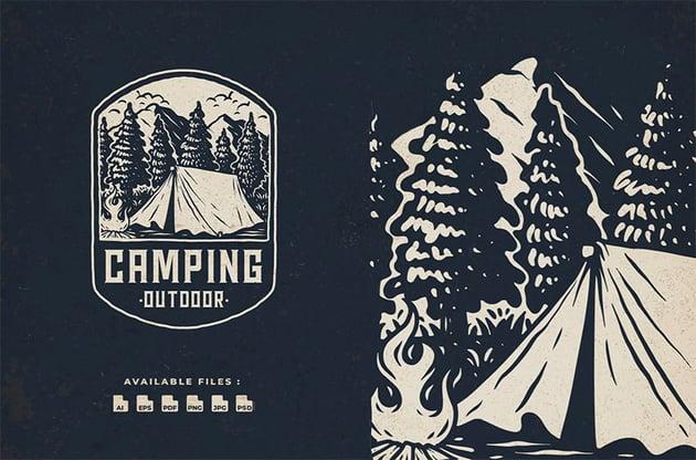 Camping Outdoor Adventure Vintage Badge Logo