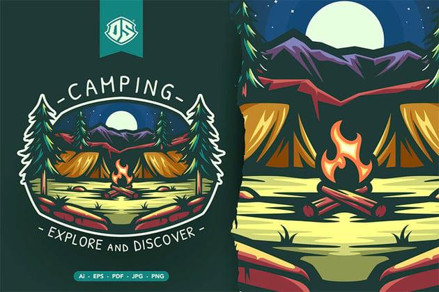 Camping Badge Illustration