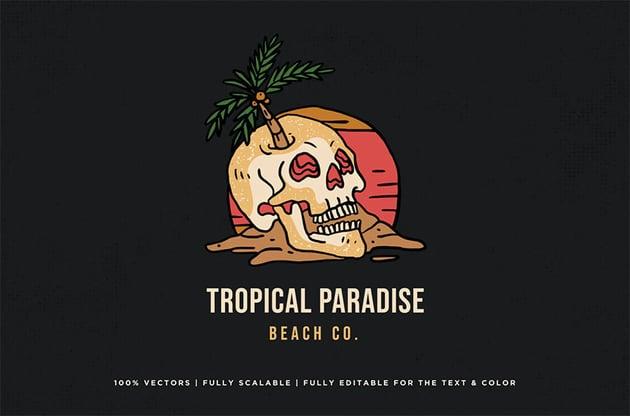 Skull Tropical Logo