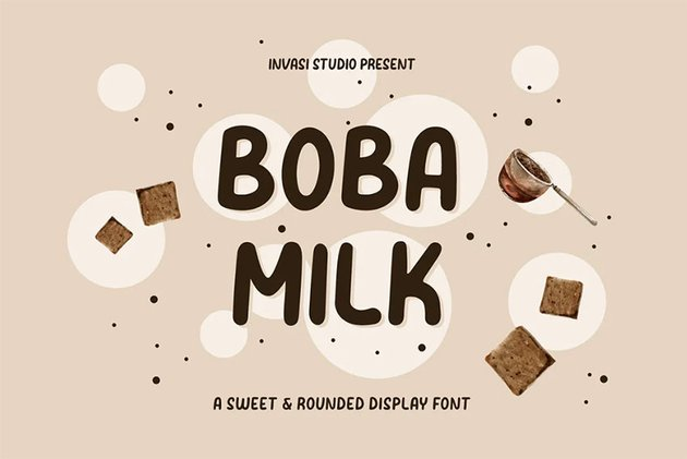 Boba Milk Rounded Corner Font