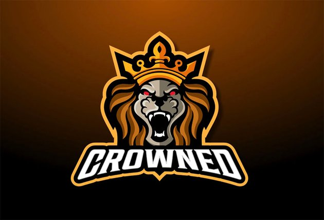 Angry Gold Lion with Crown Logo