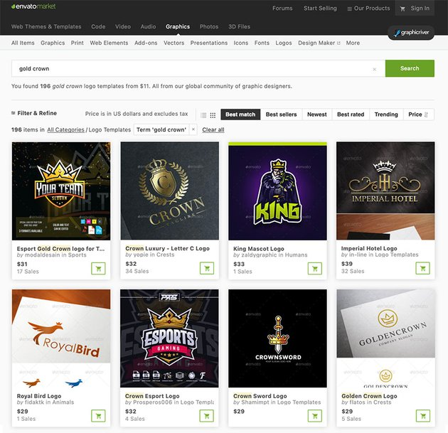 Do you need a single gold logo design? Visit to GraphicRiver's premium library to make a single purchase.