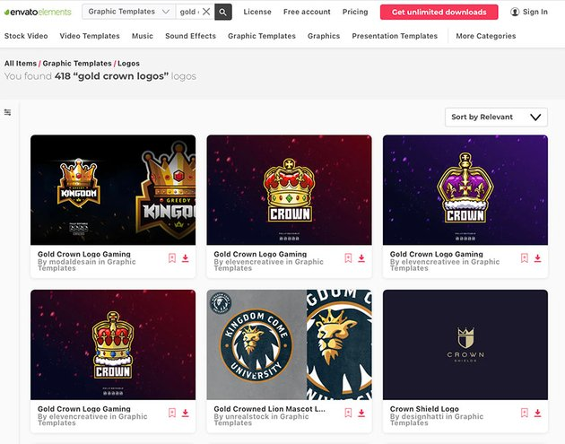 Enjoy unlimited all gold logo templates with an Envato Elements subscription.