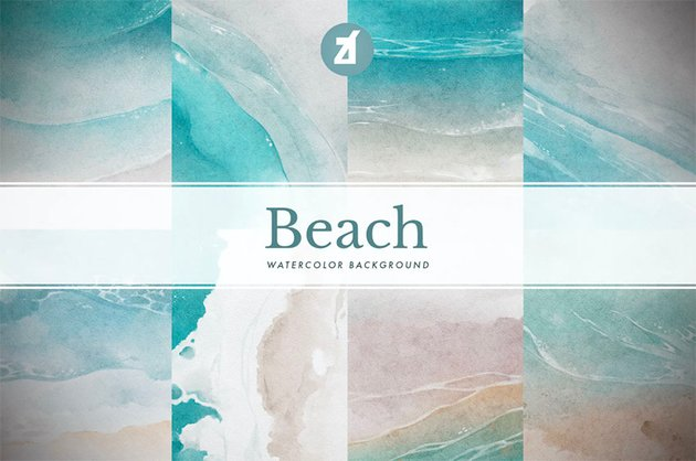 8 Beach Watercolor Computer Wallpaper