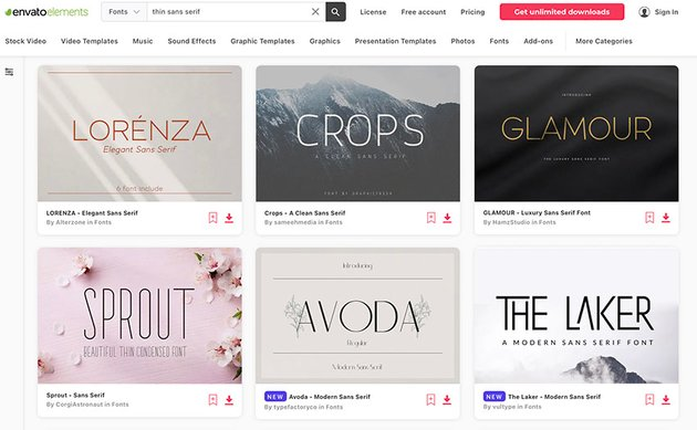Enjoy unlimited thin font types with an Envato Elements subscription.