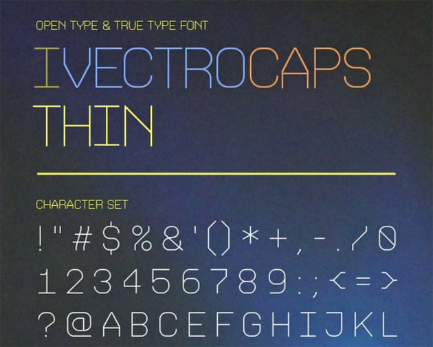 iVectroCaps Thin Straight Font