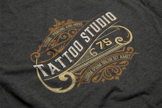 Vintage Tattoo Black White and Gold Logo