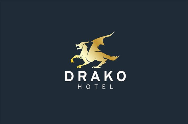 Dragon Black and Gold Logo Design Template