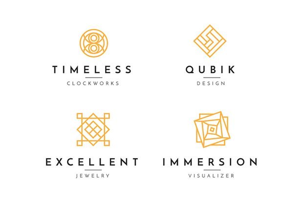 Geometric Black White and Gold Logo