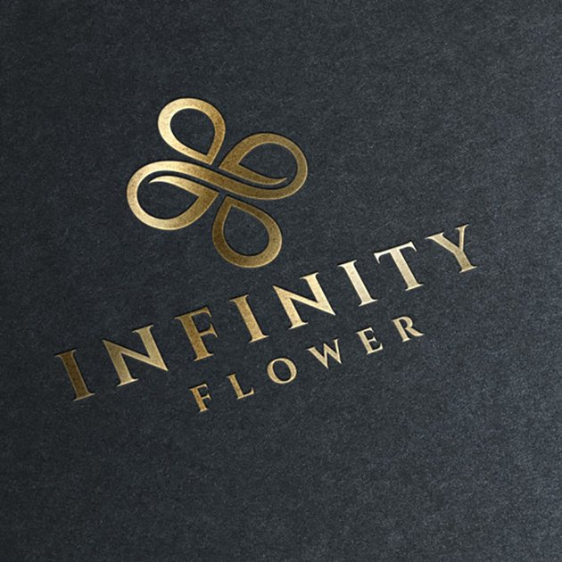 Infinity Flower Black and Gold Logo Template