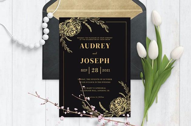 Gold Foil Roses Wedding Invitation Template