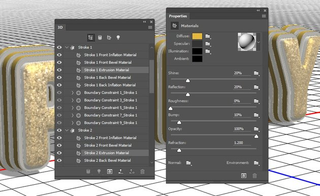 Stroke Extrusion Material Settings