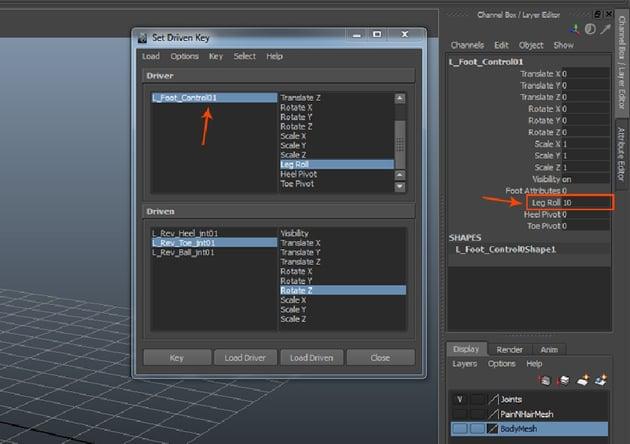 L_Foot_Control01 followed by LegRoll
