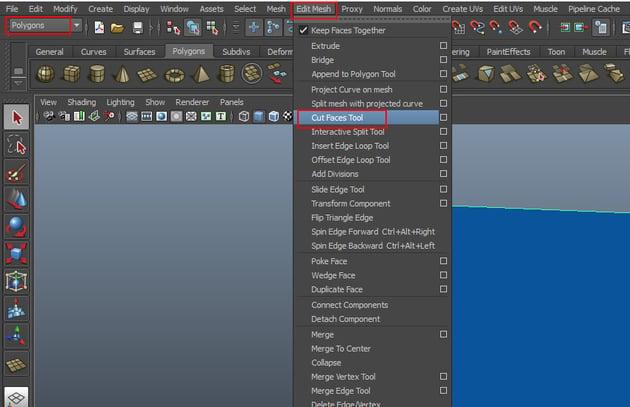 Edit Mesh Cut Faces Tool