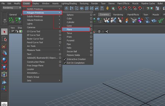Create  Polygon Primitives  Plane