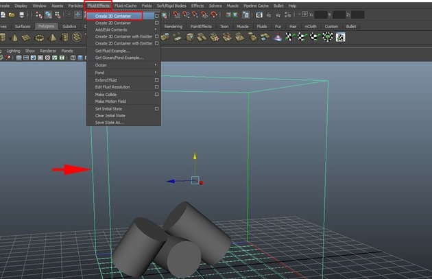 Fluid Effects Create 3D Container
