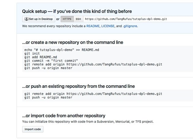 GitHub new repository page