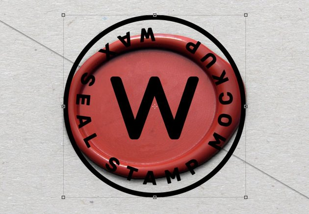 Stamp design over the wax seal