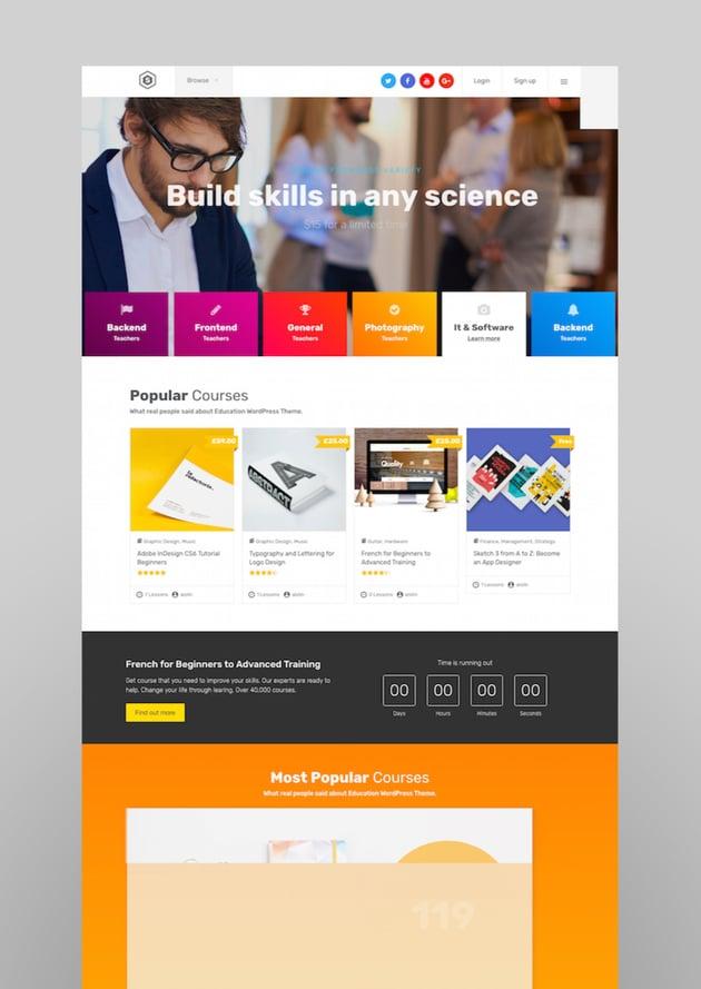 Skilled  School Education Courses WordPress Theme