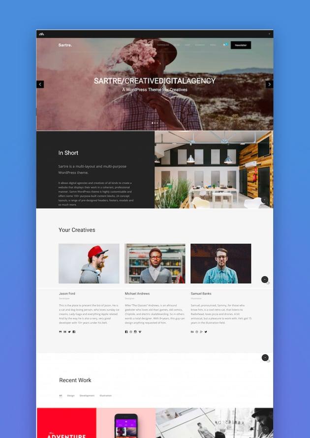 Sartre - Creative Multipurpose WordPress Theme