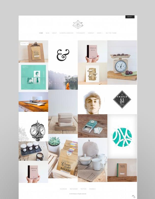 Kabuto a clean minimal responsive WordPress creative theme with a fullscreen portfolio grid