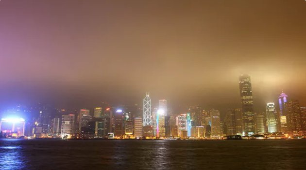 Night Panorama of Hong Kong Harbour in Time Lapse
