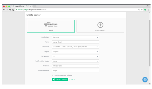 Laravel Forges interface for adding a new server