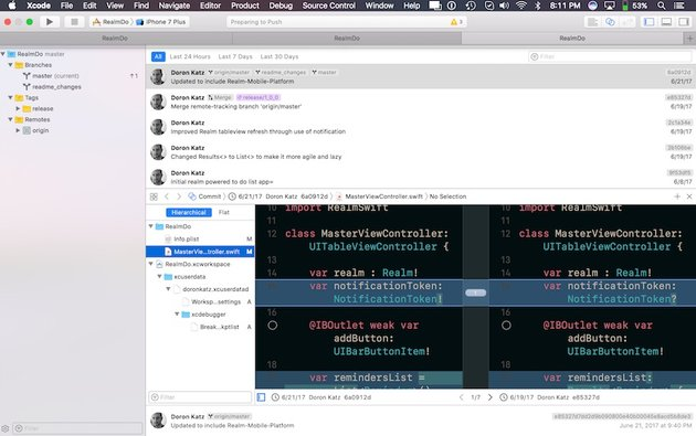 Xcode 9s new comparison perspective panes