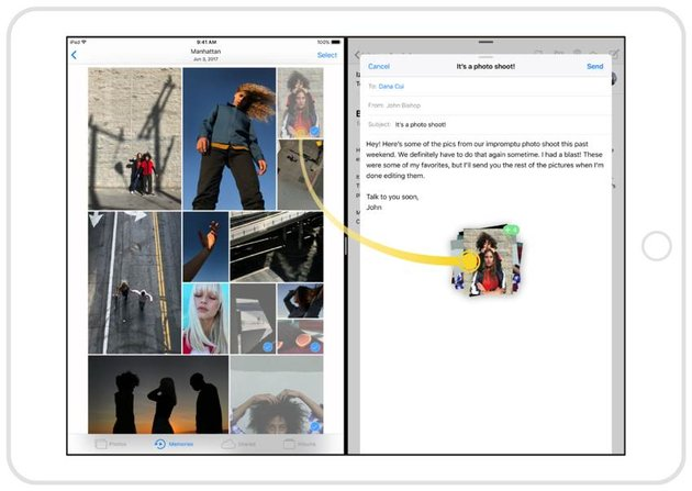 Drag and Drop on the iPad between Photos and Mail source Apple