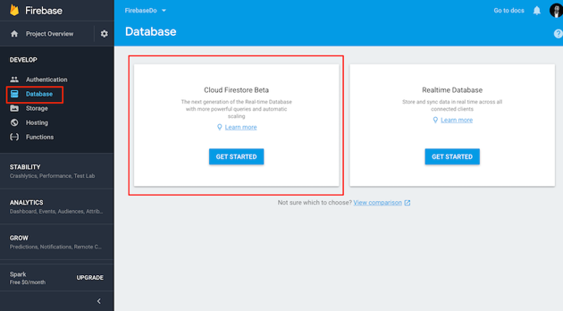 Database tab in the Firebase console