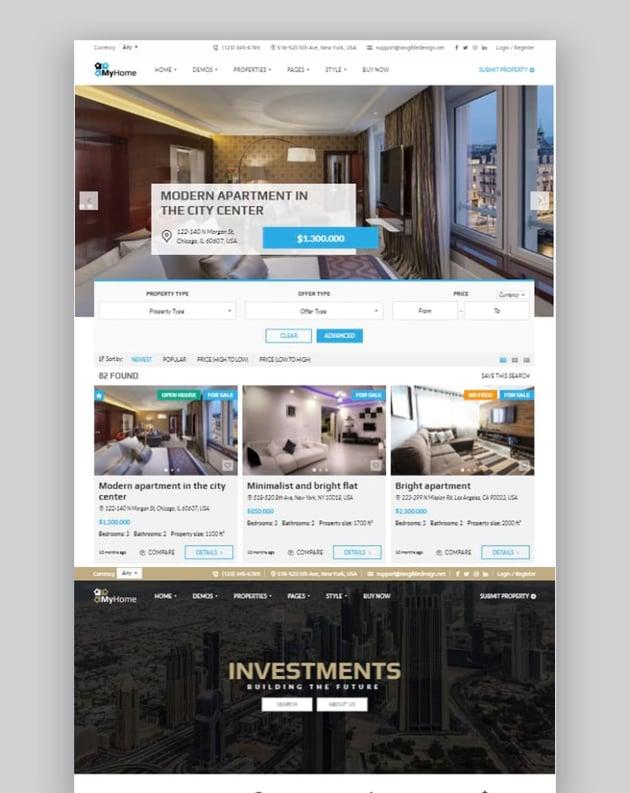 MyHome - Tema de WordPress para inmobiliaria
