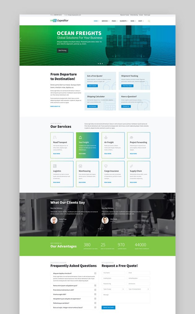 Expeditor - Logistics  Transportation WordPress Theme