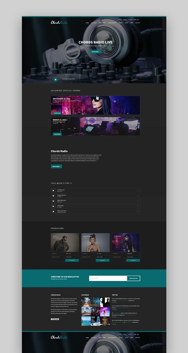 Chords - Music  Artist  WordPress Radio Theme