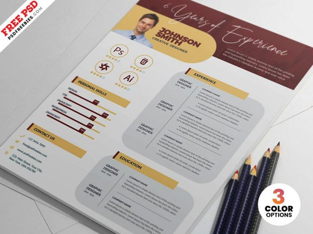 Minimalist Resume CV Design PSD