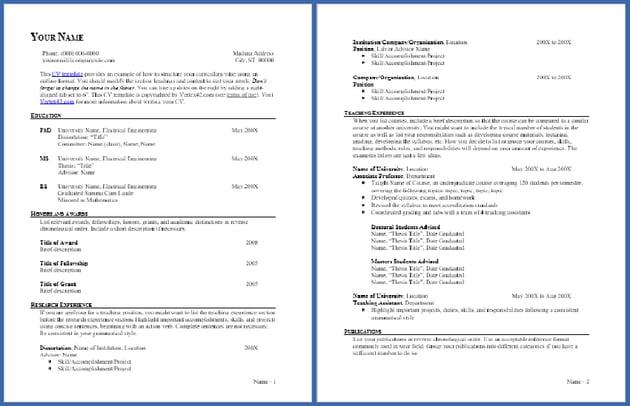 CV Template - Outline Format