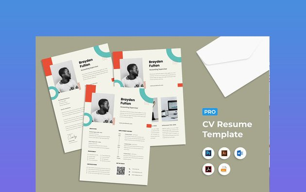 Resume Word Abstract Border