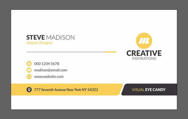 Front part of business card completed