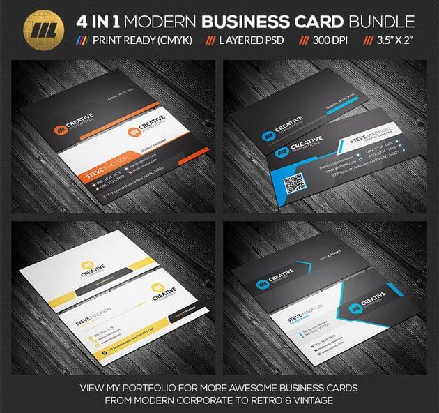 4 in 1 Modern Business Card Bundle