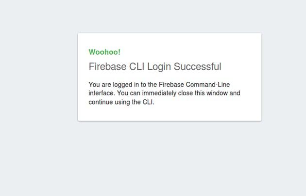 Firebase CLI Login Successful page