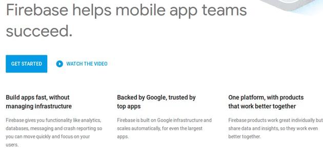 Firebase website screenshot
