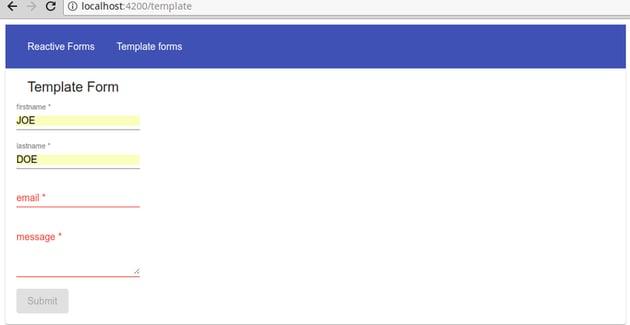 template form validation