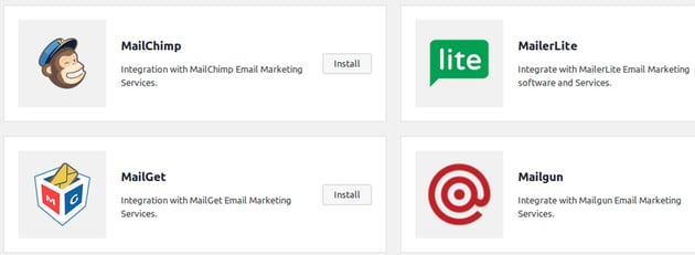 Choose MailChimp and click Install