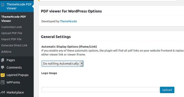 PDF Viewer menu in WordPress admin