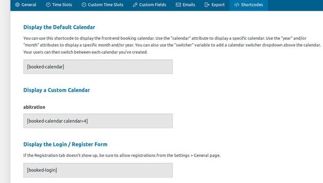 Calendar display settings