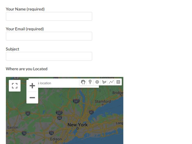 The completed contact form with Google Maps extension