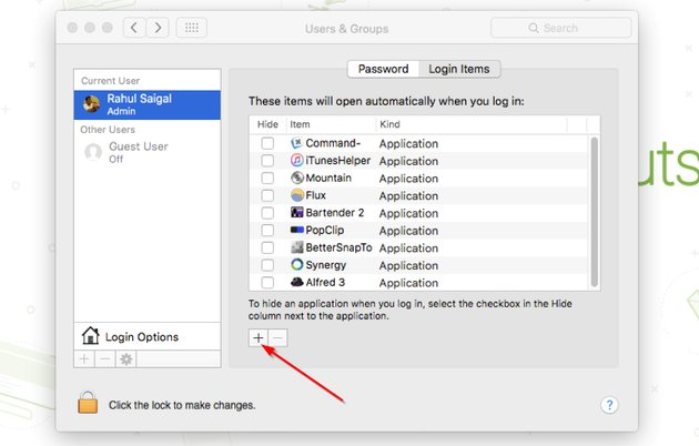 Add and remove login items in System Preference for Mac