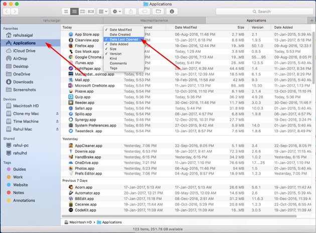 Check Last Opened from the column header in the Finder app