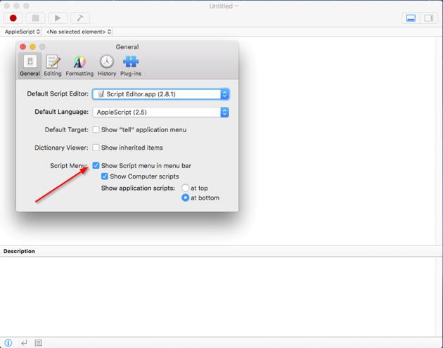 Enable script menu in the menu bar