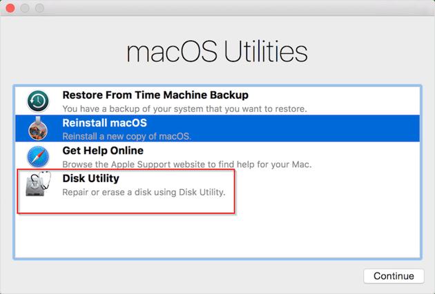 Disk utilities window in macOS recovery