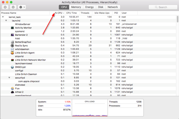 Click the CPU column to sort processes by the percentage of CPU used by each processes